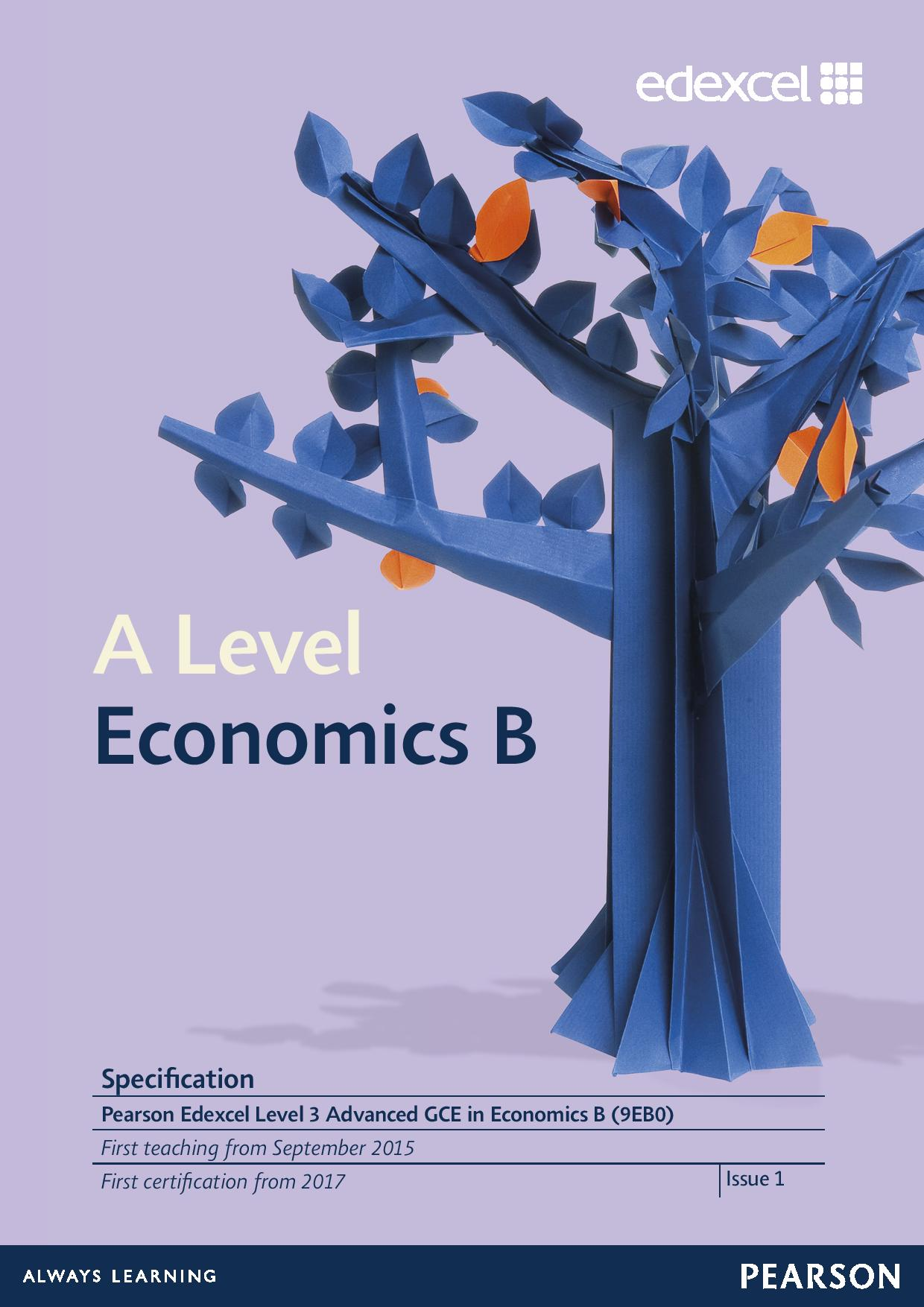 Link to Edexcel A level Economics B  specification page