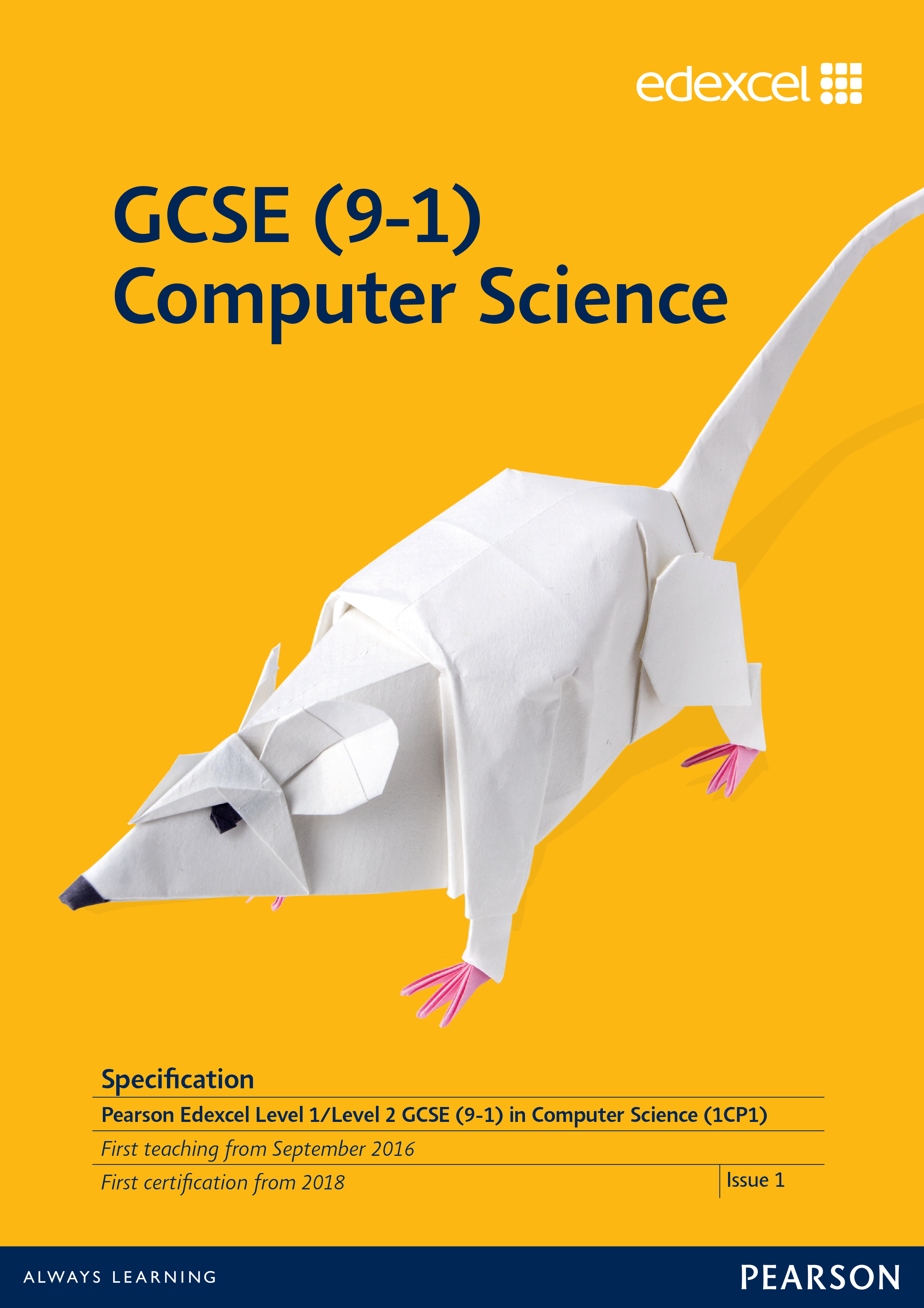 Link to Edexcel GCSE Computer Science (2016) specification page