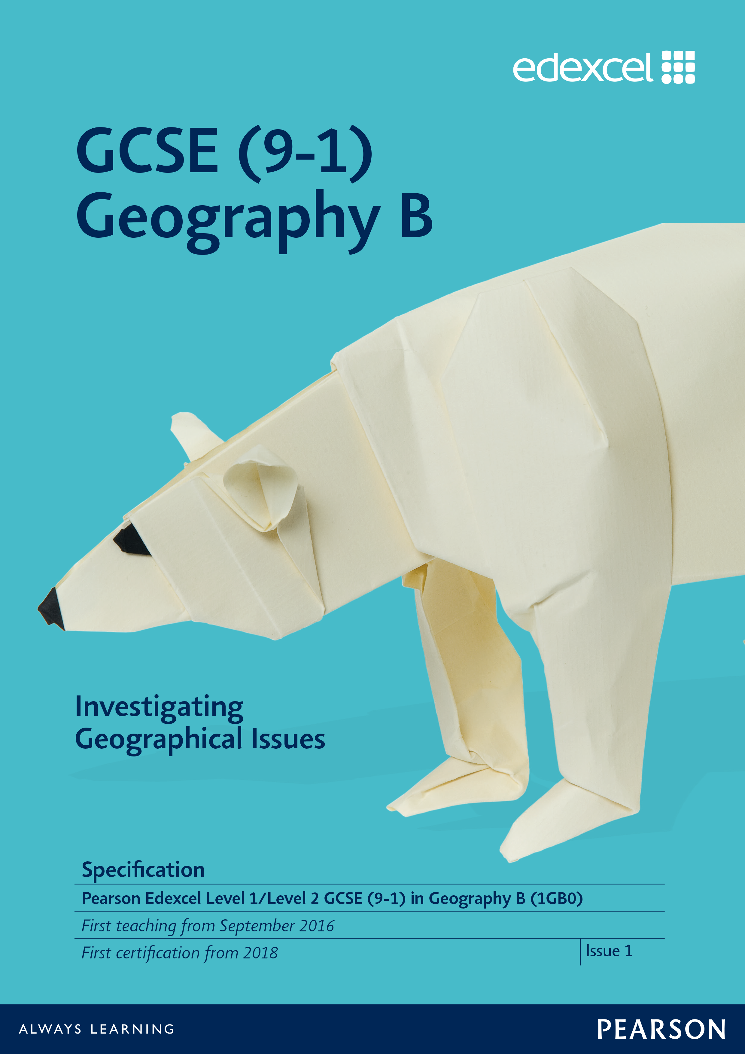 Link to Edexcel GCSE Geography B (2016) specification page