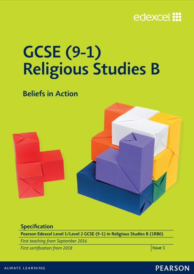 Lin to Edexcel GCSE (9-1) Religious Studies B (2016) specification page