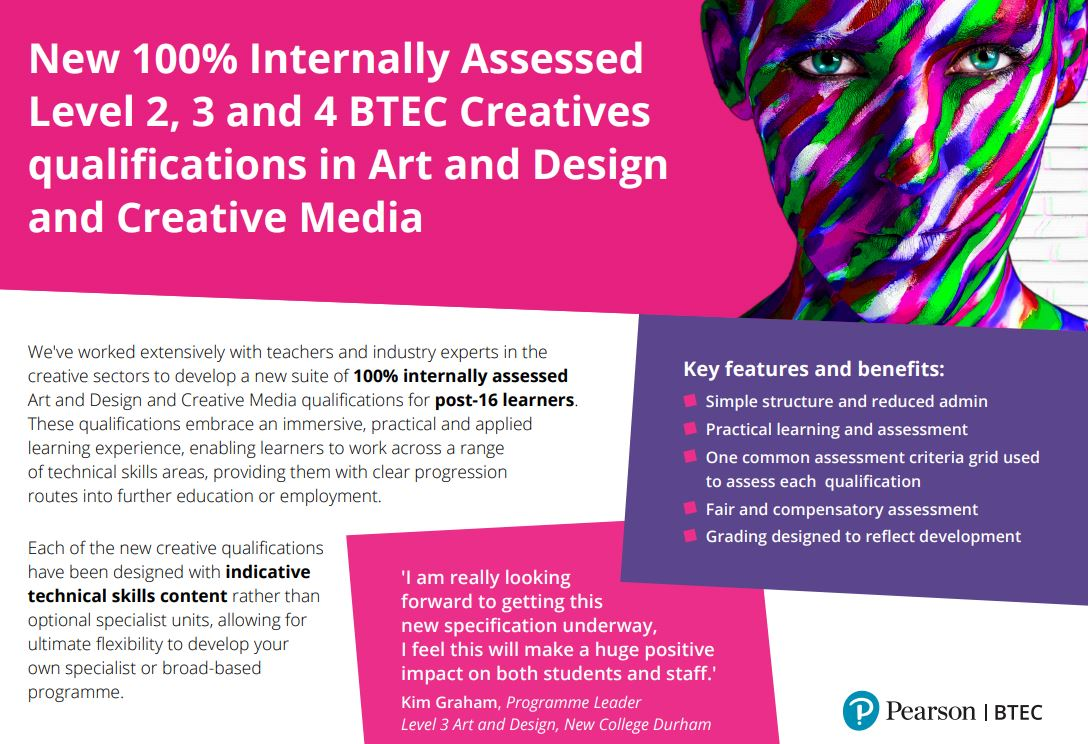 New 100% Internally Assessed Creatives Qualifications. Download the infographic.