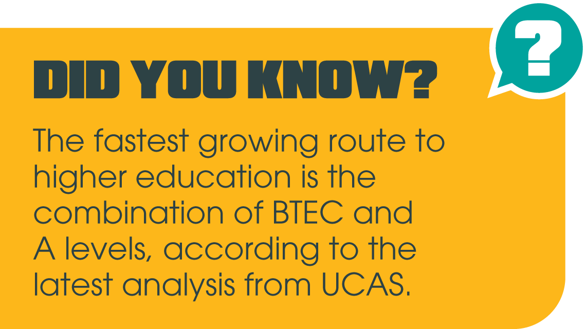 Did you know that the fastest growing route to higher education is the combination of BTEC and A levels, according to the latest analysis from UCAS