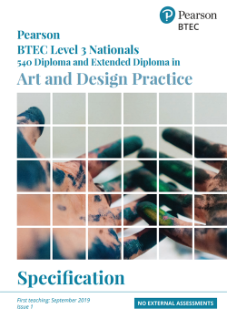 BTEC Nationals Art and Design Practice specification cover