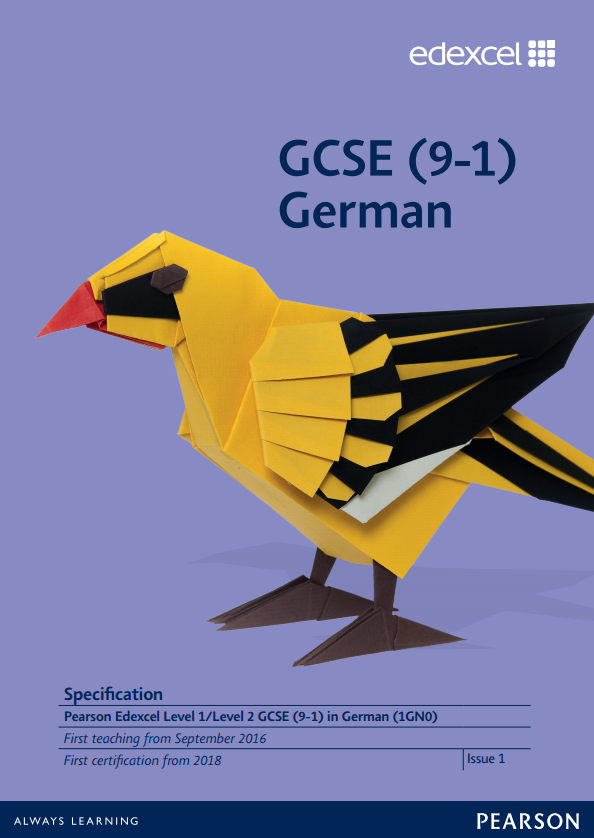 Link to Edexcel GCSE German (2016) specification page