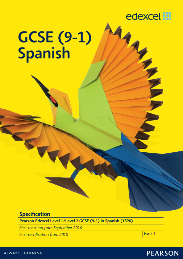 Link to Edexcel GCSE Spanish (2016) specification page