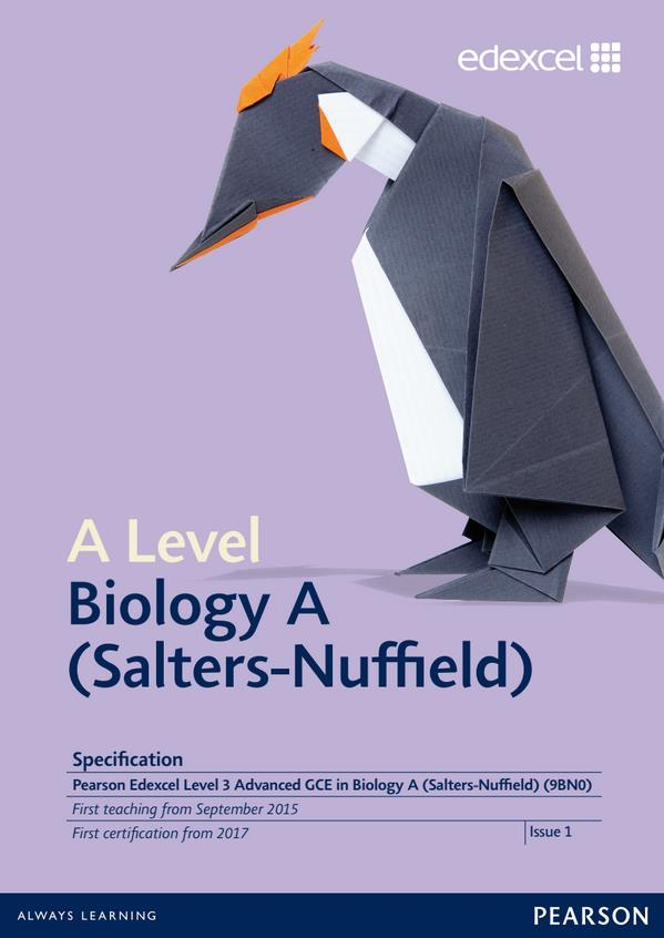 Link to Edexcel A level Biology A (Salters-Nuffield) specification page
