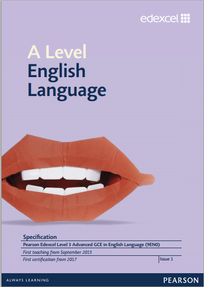 Link to Edexcel A level English Language specification page