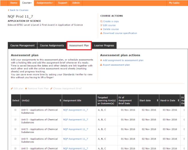 Send assignments from assessment plans to Internal Verification – Sample Assessment Plan