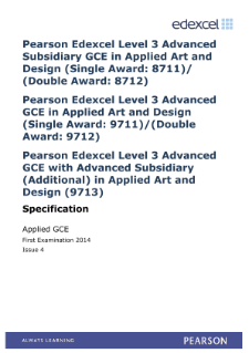 Edexcel A Level Art and Design specification