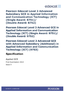 Edexcel A level Applied ICT   Pearson qualifications Edexcel   Pearson Edexcel A Level Applied ICT specification