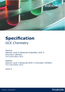 Edexcel A level Chemistry specification
