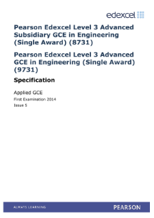 Edexcel A level Engineering specification