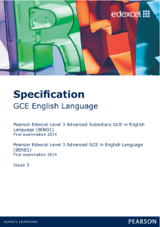 Edexcel A level English Language specification