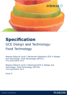 Edexcel A level Food Technology specification