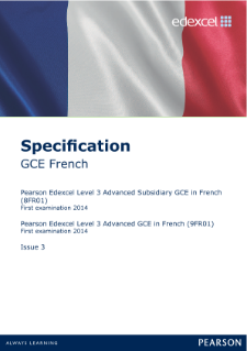 Edexcel A level French specification