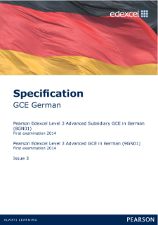 Edexcel A level German specification