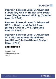 Edexcel A level Health and Social Care specification