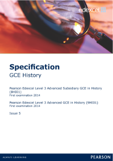 Edexcel A level History specification