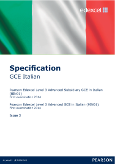 Edexcel A level Italian specification