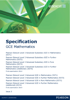 Edexcel A level Mathematics specification
