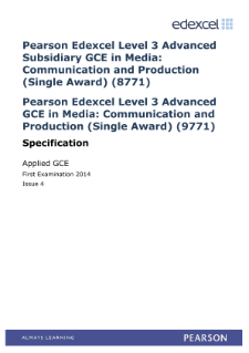 Edexcel Applied A level Media specification