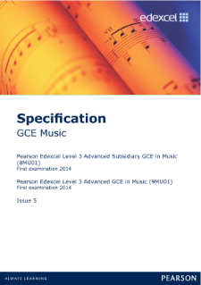 Edexcel A level Music specification