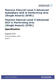Edexcel Applied A level Performing Arts specification