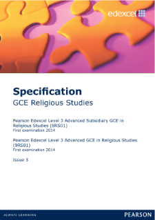 Edexcel A level Religious Studies specification