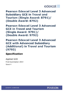 Edexcel Applied A level Travel and Tourism specification