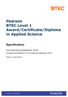 BTEC Level 1 Award in Applied Science specification