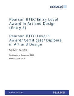 BTEC Level 1 Award in Art and Design specification