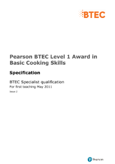 BTEC Level 1 Award in Basic Cooking Skills specification
