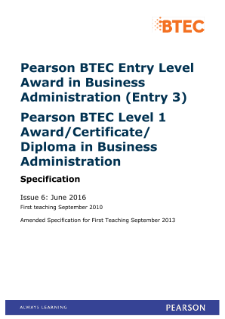 BTEC level 3 Award in Business administration