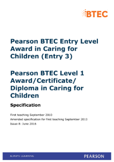BTEC Level 3 Award in Caring for Children specification