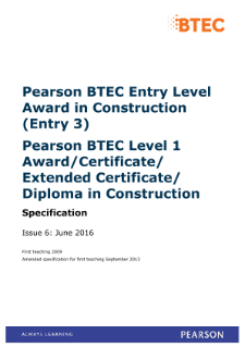 BTEC Level 1 Award in Construction specification