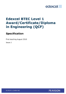 BTEC Level 1 Award in Engineering specification