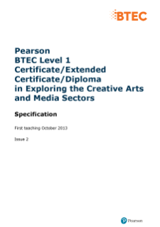BTEC Level 1 Certificate in Exploring the Creative Arts and Media Sectors