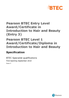 BTEC Level 3 Award in Introduction to Hair and Beauty specification