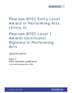 BTEC Level 3 Award in Performing Arts specification