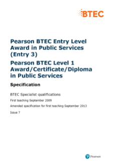 BTEC Level 3 Award in Public Services specification