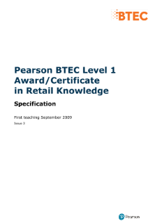 BTEC Level 1 Award in Retail Knowledge specification