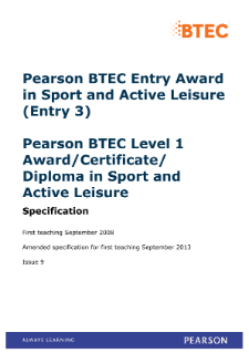 BTEC Level 1 Award in Sport and Active Leisure specification