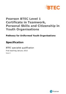 BTEC Level 1 Certificate in Teamwork, Personal Skills and Citizenship in Youth Organisations