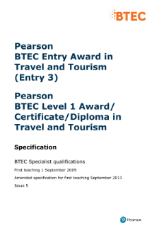 BTEC Level 3 Award in Travel and Tourism specification