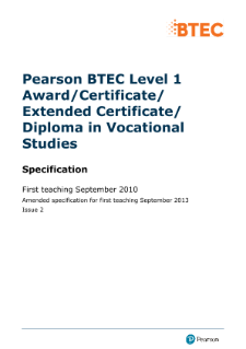 BTEC Level 1 Award in Vocational Studies specification