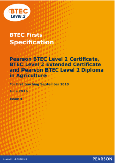 BTEC Firsts in Agriculture specification