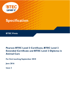 BTEC Firsts in Animal Care specification