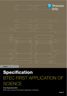 BTEC First Award in Application of Science specification