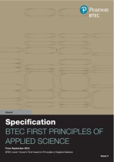 BTEC First Award in Principles of Applied Science specification