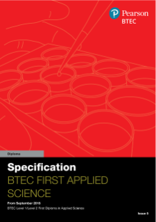 BTEC First Diploma in Applied Science specification